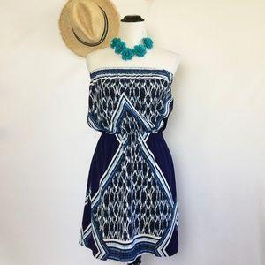 Express Blue Strapless Tube Mini Dress